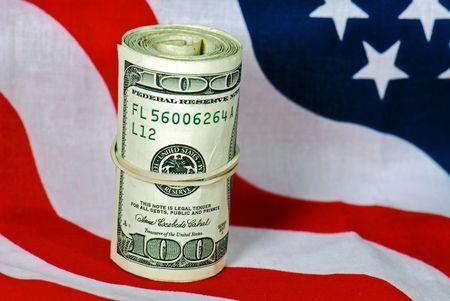 bankroll: Bankroll on the American flag.
