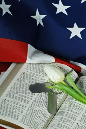 Tulip and military dog tags on an open Bible.