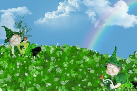 Irish leprechauns in a field of shamrocks with rainbow.