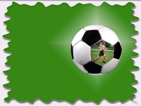 dutch girl: Soccer player running in soccer ball on illustrated background.