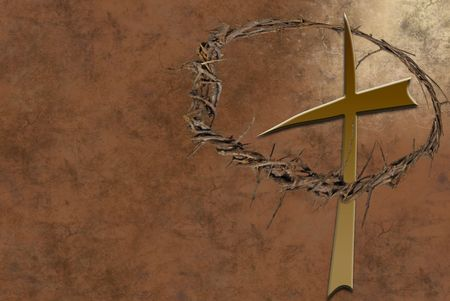 crown of thorns: Cross and a crown of thorns on grunge background. Stock Photo