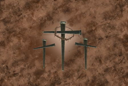 suffer: Three crosses of nails on grunge background.