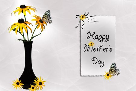 dainty: Black-eyed susan bouquet with butterfly for mothers day. Stock Photo