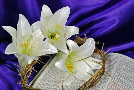 easter sign: Easter lilies and crown of thorns on an open Holy Bible.