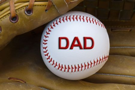 Baseball for dad in a glove. Stock Photo