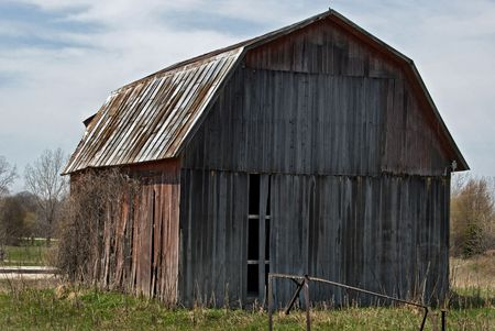 Old abandoned barn in the spring.