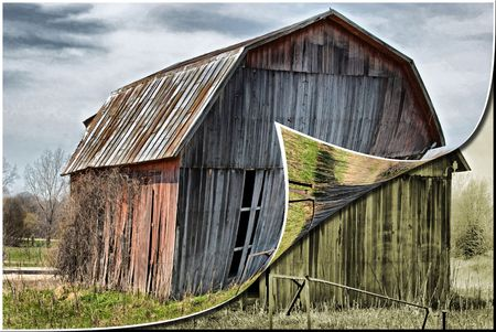 old barn: Old barn redone in HDR and digital effect. Stock Photo