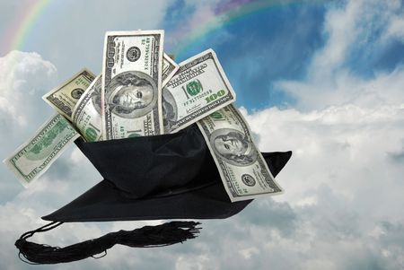 Graduation cap with money in a rainbow sky. Stock Photo
