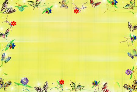 Butterfly, blooms and bows on yellow plaid background. photo