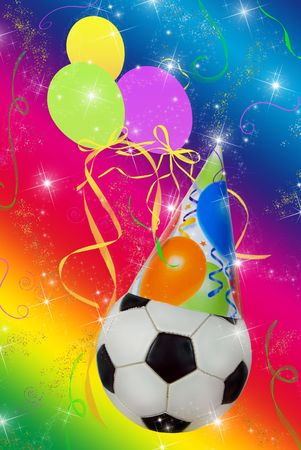 party streamers: Party hat on a soccer ball with balloons.