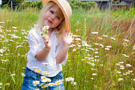 Sassy little girl in a meadow. Stock Photo - 5179297