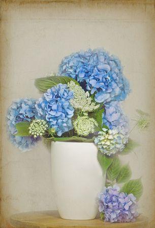 vases: Hydrangea bouquet in textured effect. Stock Photo