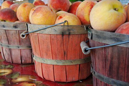 bushel: Fresh peaches in worn bushel basket.s