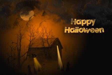 barren: Halloween illustration of haunted cabin. Stock Photo