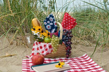 basket: Picnic basket on sand.