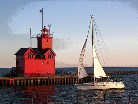 Sailboat sailing past a red lighthouse in posterization effect. photo