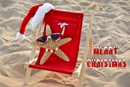 Santa starfish in a beach chair. Stock Photo