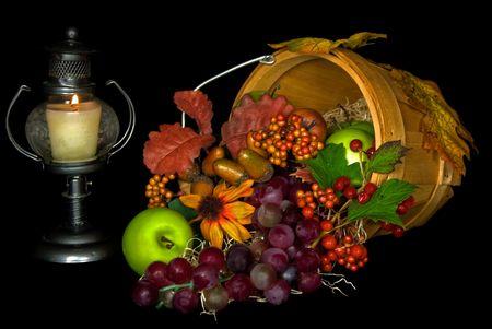 bushel: Harvest fruits spilling out of bushel basket. Stock Photo
