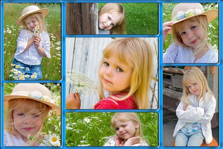 Collage of happy childhood moments of a little girl.