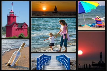 Collage of summer scenes of Lake Michigan.