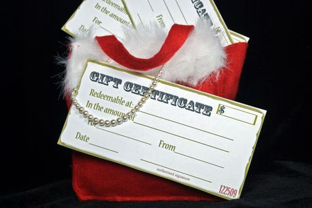 luster: Pearls and gift certificates in holiday stocking.