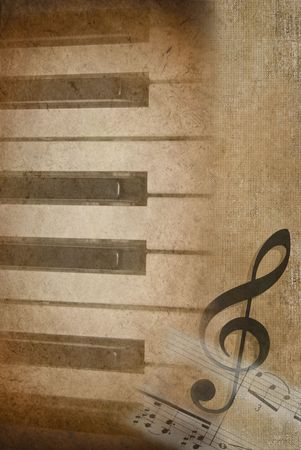 Textured effect with piano keys and music.
