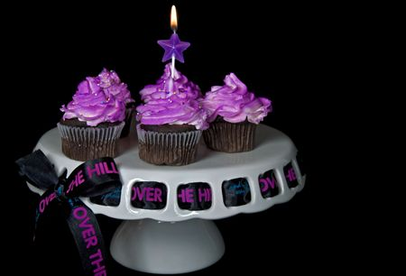 Happy birthday ribbon in cake plate with chocolate cupcakes. Stock Photo - 5811689