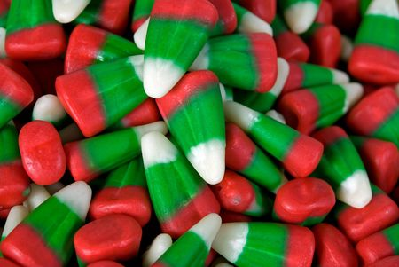 Extreme close up of Christmas corn candy.