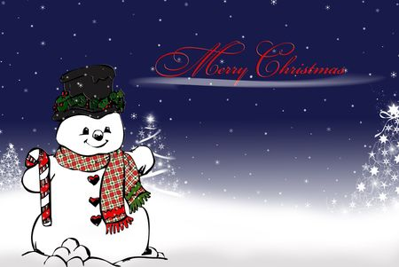 Snowman with festive trees and holiday greeting.
