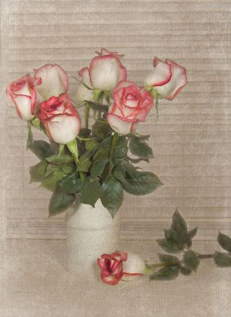 variegated: Rose bouquet in old crock,