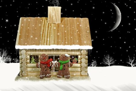 Gingerbread family with log cabin. Imagens
