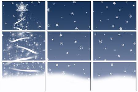 Winter scene with holiday tree. photo