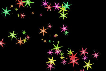 Colorful stars on a black background.