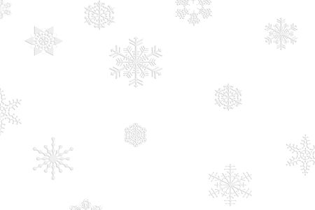 Silver snowflakes on white background. Imagens