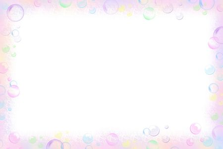 Pastel bubble border on white background.