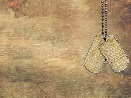 military history: U.S. Constitution on military dog tags with texture.