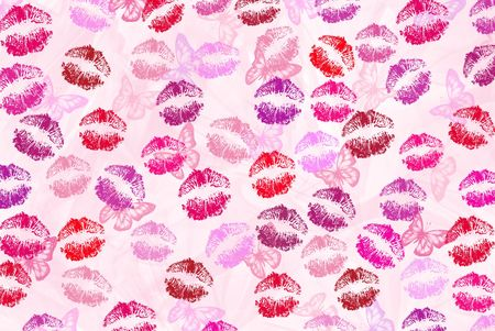 smooch: Butterflies and lipstick kisses on pink abstract.