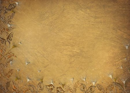 Butterflies and seedling on antique texture.