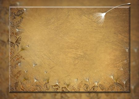 Antique butterflies and seedlings on textured background.