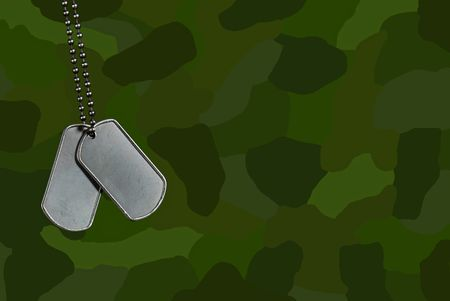 Military dog tags on green camouflage.