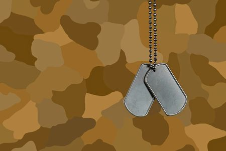 Dog tags on brown camouflage.