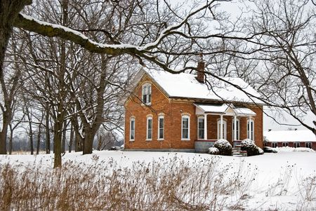 winter: Vintage home in the winter country.