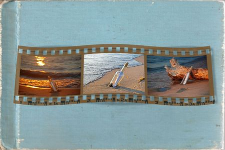 Message in bottle photos in filmstrip on textured background. Stock Photo - 6393490
