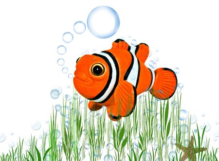Clown fish and starfish with bubbles in reeds.