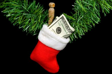 christmas sock: Money in Christmas stocking.