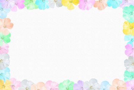 Pastel hibiscus border on textured background.
