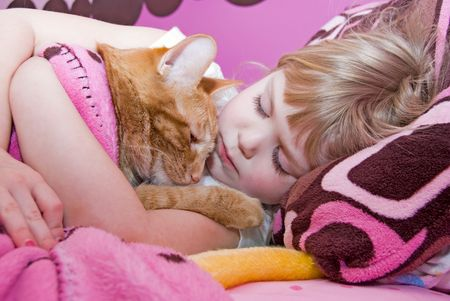 Little girl sleeping in bed with her pet tabby cat. photo