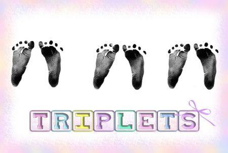 Triplet footprints with pastel border and blocks. Фото со стока