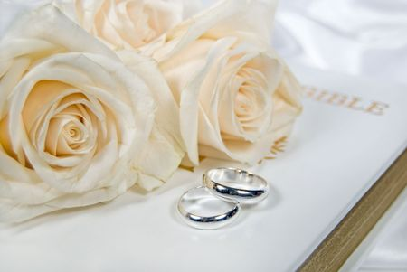Roses and silver wedding rings on Bible.