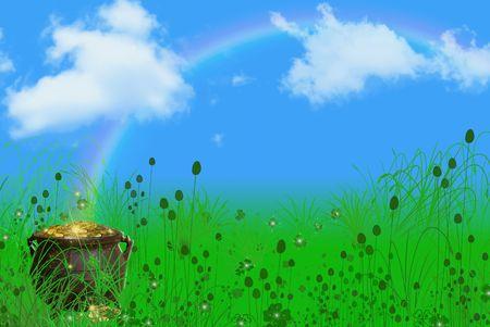 the end of a rainbow: Olla de oro al final de un arco iris.